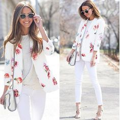 Nice Business Casual Outfit I love her floral blazer! I think it is such cute look for spring or summer! Her...