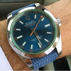 Rolex Milgauss on a blue perlon strap in courtesy of @llvll | #LoveWatches