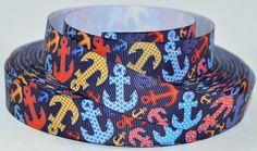 7/8 Anchors Multi Colored Printed Grosgrain Ribbon