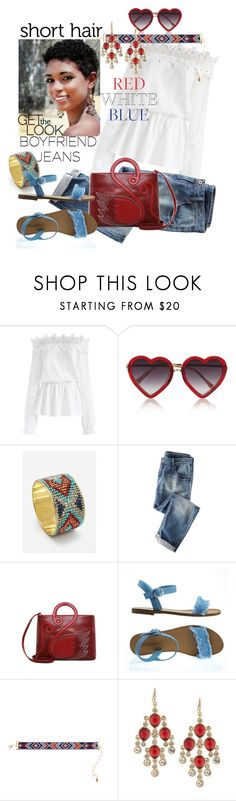 """me & my guy"" by daincyng ❤ liked on Polyvore featuring Chicwish, Markus Lupfer, MANGO, Wrap, Breckelle's, Amrita Singh, Carolee, boyfriendjeans, fourthofjuly and ShortHair"