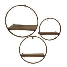 Metal & Wood Wall Shelves,Bronze, Set of 3 - Sagebrook Home 13107-03