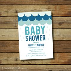 Baby shower invitation rain shower baby boy