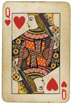 queenie- pattern on card. Folk florals/ deco border, heart motifs