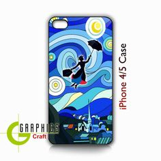 Tardis Doctor Who Van Gogh Starry Night Mary Poppins Art Painting Apple iPhone Case - Cover iPhone 4/4s and  5 (Black / White Color Case). $15.50, via Etsy.