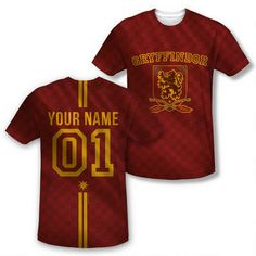 Exclusive Personalized Gryffindor Crest Adult Quidditch Jersey |