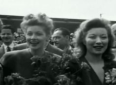 Lucille Ball and Greer Garson on a war bond rally, in 1944