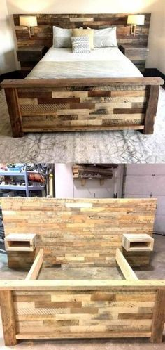Bedroom diy bed frame headboards 21 Ideas for 2019 Pallet Furniture Designs, Wood Pallet Furniture, Woodworking Furniture, Bed Furniture, Furniture Projects, Furniture Makeover, House Projects, Garden Projects, Woodworking Plans
