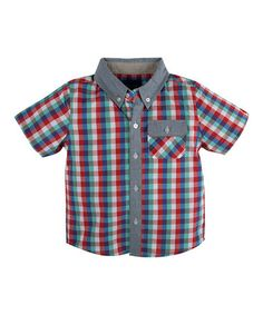 Another great find on #zulily! Red & Blue Plaid Button-Up - Toddler #zulilyfinds