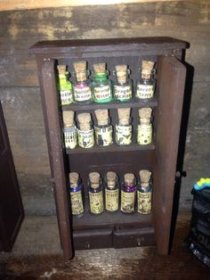 Inside my witches kitchen cupboard doll house haunted miniature Haunted Dollhouse, Haunted Dolls, Dollhouse Miniatures, Witch Potion, House Wiring, Witch House, Kitchen Witch, House Made, Kitchen Cupboards