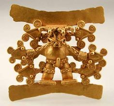 """Gold Pendant of a Shaman Surrounded by Serpent Heads - FJ.6151 Origin: Costa Rica/Panama Circa: 500 AD to 1550 AD Dimensions: 4.25"""" (10.8cm) high Catalogue: V22 Collection: Pre-Columbian Medium: Gold"""