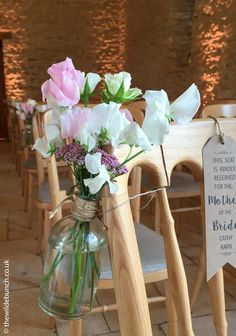 Beautiful summer aisle flowers by top Bristol wedding florists, The Wilde Bunch at Kingscote Barn Barn Wedding Flowers, Aisle Flowers, Kingscote Barn, Florists, Bristol, Glass Vase, Table Decorations, Summer, Top