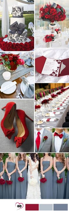 grey and crimson wedding idea (color themes for wedding gray)