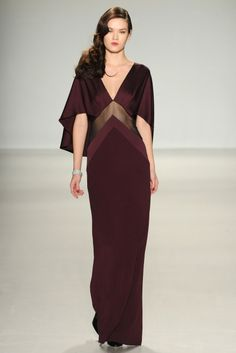 Pamella Roland Fall 2014... more 20's (30's?) influence, more blood red/burgandy, more sheer panels