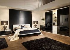 bedroom decorating ideas - maybe instead of full on painted walls, a huge panel of a dark colour may be enough...hmmm?