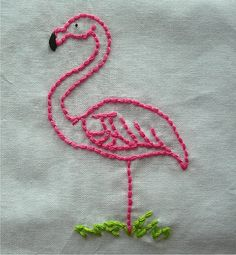 EMBROIDERY! FLAMINGOES! Two of my favourite things:) Pink Flamingo embroidery by spookshowbaby77, via Flickr