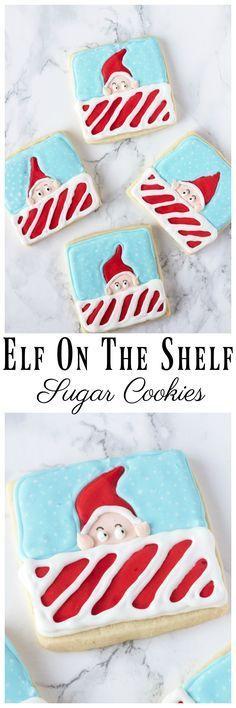 Elf On The Shelf Sugar Cookies with Homemade Sugar Cookies. Kids will love these super cute Elf On The Shelf Sugar Cookies! #elfontheshelf #cookies #christmas #christmascookies #elfontheshelftreat #sugarcookie