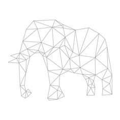 Elephant Origami Deco Mural Decal Measurement One Measurement Wall Stickers Elephant, Glass Stencil, Animal Silhouette, Art Diy, Elephant Pattern, Painting Patterns, Geometric Elephant, Art, Art Pictures