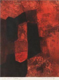Composition brune et rouge - Serge Poliakoff