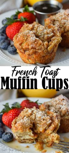 French toast muffins are made with buttery croissants and topped with a yummy cinnamon streusel. This is an easy breakfast to pop in the oven and have it all done at once. Quick Recipes, Brunch Recipes, Easy Dinner Recipes, Easy Meals, Cooking Recipes, Muffin Recipes, Breakfast Time, Breakfast Dishes, Breakfast Recipes