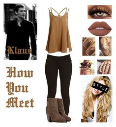 """""""How You Meet~Klaus Mikaelson"""" by queenreigns-916 ❤ liked on Polyvore featuring rag & bone, Lime Crime and Simple Pleasures"""