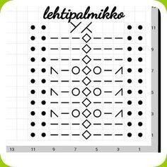 Inspiraation aalto on ollut valtava viime aikoina jostakin syystä ja näin ollen syntyi seuraavakin kuvio :) Lanka 7 veljestä Puik... Knitting Stiches, Knitting Charts, Lace Knitting, Knitting Socks, Crochet Stitches, Knitted Hats, Knit Crochet, Knitting Patterns, Knitting Machine