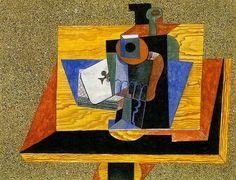 """Pablo Picasso - """"Verre, as de trefle, bouteille sur une table"""". 1915"""