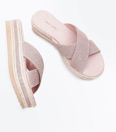 Rose Gold Diamante Strap Espadrille Flatform Sliders | New Look