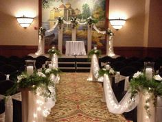 26 Church Wedding Decorations Ideas - Fashion and Wedding Small Church Weddings, Church Wedding Decorations Aisle, Simple Church Wedding, Pew Decorations, Church Ceremony, Wedding Centerpieces, Flower Centerpieces, Fall Wedding, Flower Arrangements