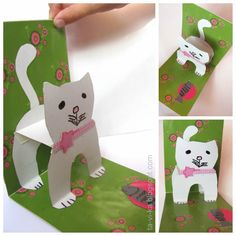 pop-up card -Includes template - Cat card Kids Crafts, Projects For Kids, Diy And Crafts, Craft Projects, Craft Ideas, Libros Pop-up, Paper Pop, Cat Cards, Pop Up Cards
