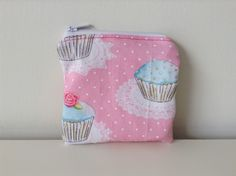 Zipper Coin Pouch - Cupcakes - Small Pouch, Doilies, Lace - Pink, Blue - Girl Sparkly Pouch - Vintage Look Fabric - Lined - Change Purse by BlackcatmeowDesigns on Etsy