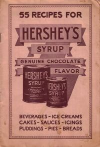 Here's an old recipe booklet from Hershey's Chocolate Syrup, there's no date anywhere but I would guess this is from the 1930s, maybe earlier.