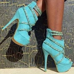 gotta have Beautiful Party Girl Wearing Chain Strap Ankle Boots