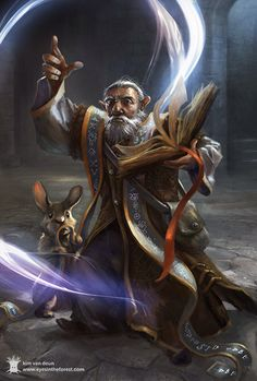 m Gnome Wizard Magic Book Robes Rabbit familiar mdlvl by Kim Van Deun