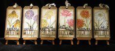 Wenskaart Tag, Tim Holtz CMS215, bloem wenskaart, BloemenGift Tag, Wild Flower, zes Tag Set, bloementuin Tags, aquarel Tags