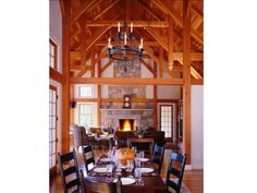Country home dining and living room view