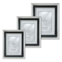 Lawrence Frames Silver-Plated Picture Frame with Satin Black Inner Panel - BedBathandBeyond.com 5 x 7 verticle