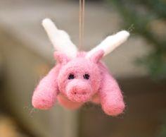 Needle Felted Pigasus Ornament - Flying Pig. $27.00, via Etsy.