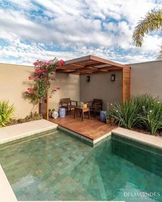 fabulous small backyard designs with swimming pool 32 ⋆ Home & Garden Design Small Backyard Design, Small Backyard Pools, Swimming Pools Backyard, Fire Pit Backyard, Backyard Patio, Garden Design, Diy Pool, Terrace Design, Loft Design