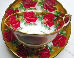 RESERVED FOR DELIANA-Paragon Rose and Sky Blue Gold Gilded 1940's Teacup and Saucer - Edit Listing - Etsy