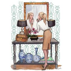 Making up #girl #lady #orchids / Mentre si trucca #ragazza #donna #orchidea - Art by Inslee Haynes