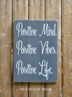 Good Vibes Wood Sign Positive Mind Positive Vibes Positive Life Inspirational Wall Art Print Plaque Chalkboard Teen Gift Office Strength Inspirational Motivational Christmas Strength New Beginnings Hand Painted
