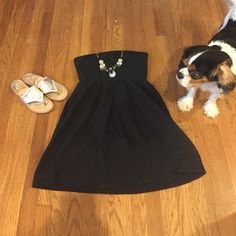 Price Drop! J. Crew Strapless Cotton Dress Size 6 Classic black summer dress. Goes with everything. POCKETS! Built in bra. Good condition. J. Crew Dresses Midi
