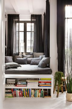 Elevated bed/reading space with another space for a bed nook underneath and bookshelves on either end Car Cleaning, Curtains, Interior, Home Decor, Indoor, Homemade Home Decor, Cleaning Cars, Blinds, Interior Design