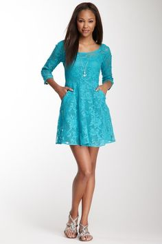 3/4 Length Sleeve Cotton Lace Dress by Angie on @HauteLook