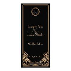 Black Gold Art #Deco #Gatsby Style #Wedding #Menu