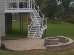 Deck and Patio with fire pit, like the lights under the steps