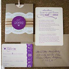 Vintage Wedding Invitations  Orange with purple lace would look pretty too @Jessica Scott
