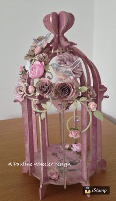 A Candy Box Crafts Birdcage with Kaisercraft Paints, Papers And Stamps Designed for Jones Craft Vintage Furniture Design, Art Deco Furniture, Modern Furniture, Party Centerpieces, Floral Centerpieces, Table Decorations, Bird Feeder Craft, Paper Birds, Shabby Chic Crafts