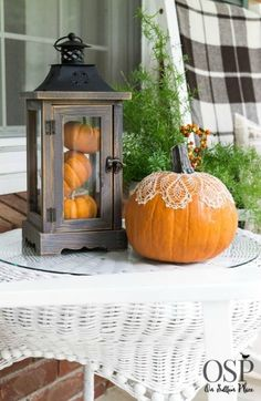 Decorating with Lanterns | Ideas and inspiration from On Sutton Place | Mini Pumpkins