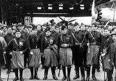 1919- Inspired by the Bolshevik Revolution in Russia, workers in Italy have begun mass strikes to demand better working conditions.  The Blackshirts squadron is formed this year to crush these strikes & uphold conservative values.  Most Blackshirts are disgruntled soldiers, angry at Italy's inability to become a colonial power since its formation & hungry for scapegoats.  After 3 years of dissolving labor unions  the Blackshirts will march Mussolini to power